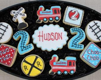 Train Cookies, Birthday Party Favors, Custom Cookies, Boy Cookies, Baby Shower Cookies, train themed cookies, Choo Choo