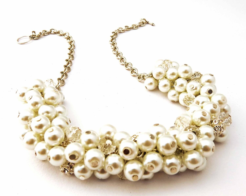 6 sets of white pearl chunky necklace sets by crystaljemscouk