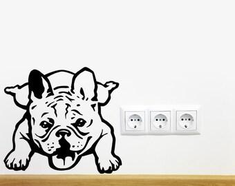 Bouledogue fran ais chien sticker yoga vinyle autocollant for Autocollant mural francais