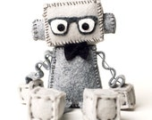 Geeky Plush Robot with Nerdy Glasses