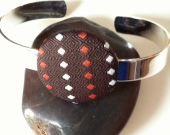 Silver Toned Covered Button Cuff Bracelet