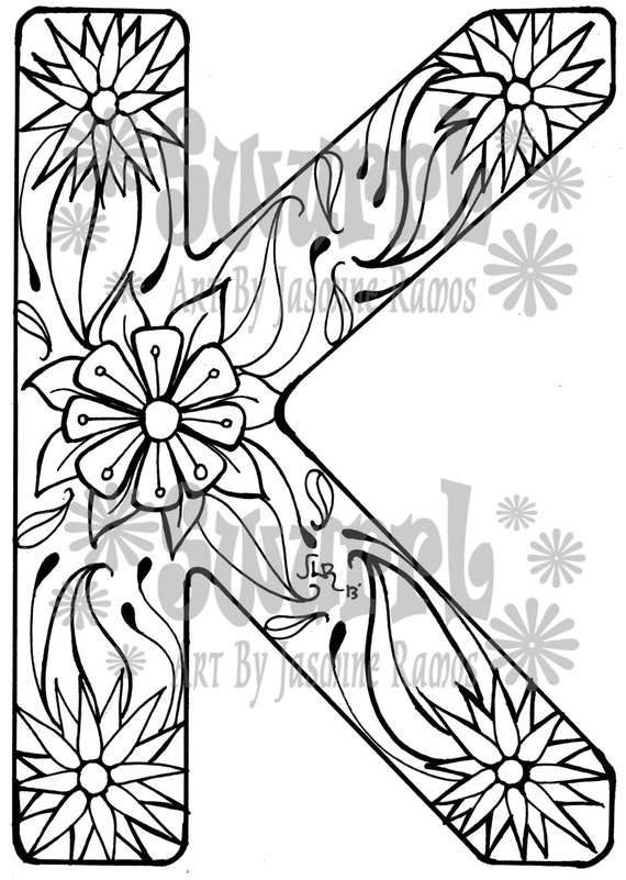 Items similar to instant download coloring page monogram for The letter k coloring pages