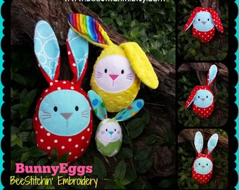 Bunny Eggs Softie - Embroidery Design - 4x4 5x7 6x10 instant download