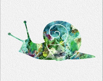 Snail Watercolor Art Print  5 x 7 Watercolor Painting Print Archival Print Wall Decor Home, Office, Kitchen, Dining  Decorative Art