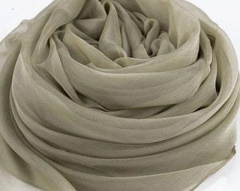 Tan Color Silk Chiffon Scarf - Large Silk Scarf - AS212