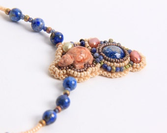 Bead embroidered Turtle Necklace