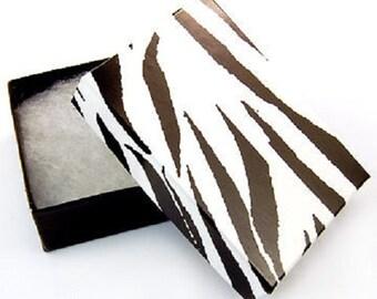 "New 50 Zebra Print Cotton Filled Jewelry Charm Pendant Gift Boxes 2 1/8"" X 1 5/8"""