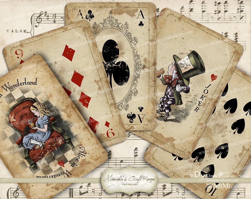 alice in wonderland playing cards printable digital collage