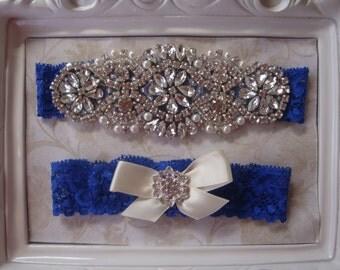 Wedding Garter - Bridal Garter - Couture Pearl and Crystal Rhinestone Garter and Toss Garter Set on Royal Blue Lace