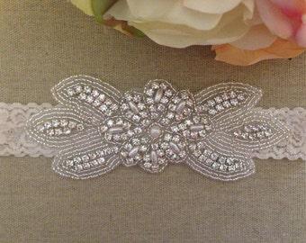 Wedding Garter - Bridal Garter - Pearl and Crystal Rhinestone Garter