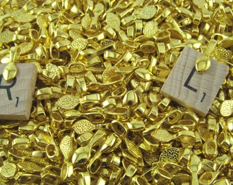 200 Teardrop Bails - Gold Color - 16mm - Small Glue On Bails - For Scrabble and Glass Pendants - 5/8 x 1/4 inch 16mm x 5mm