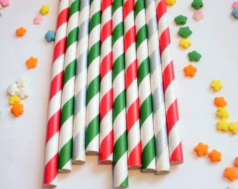 50 Christmas Holiday Paper Straws