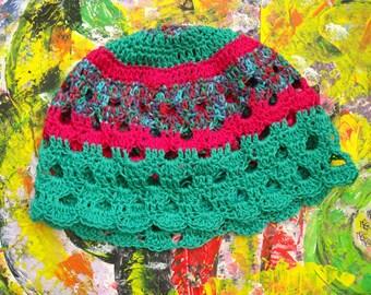 crochet openwork cotton hat in green/red/purple