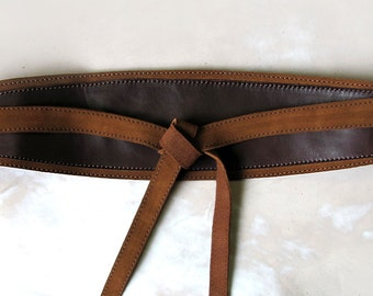Brown leather Obi belt, Dark brown wide waist belt