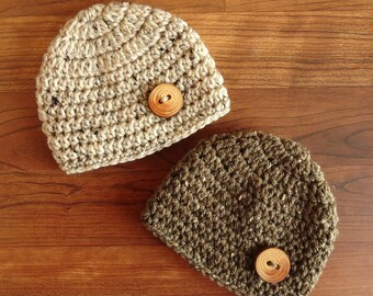 Crocheted Baby Boy/Boy Twin Hat Set with Real Wooden Tree Branch Buttons ~ Oatmeal & Barley Tweed ~ Newborn to 5T ~ MADE TO ORDER