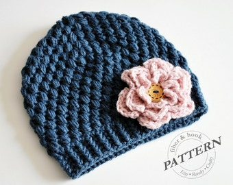 CROCHET PATTERN - Crochet Beanie with Detachable Flower, Crochet Flower Hat, Crochet Button Hat, Textured (Newborn to Adult Sizes) pdf #014H