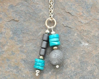 Handmade Sterling Silver Double Pendant with Turquoise and Brushed Haematite (chain not included)