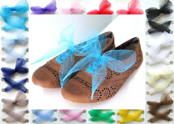 Tulle Shoelaces - Choose your Color, Length and Tips