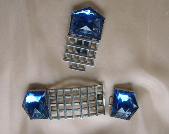 Vintage Art Deco 30's/40's Buckle and Dress Clip Royal Blue
