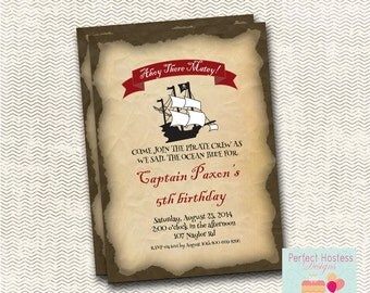 Ahoy there Matey Pirate Birthday Invitation
