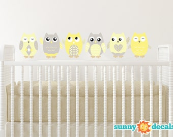 Owl Fabric Wall Decals, Set of 6 Owls, Repositionable and Reusable, Yellow, Grey, White, 4 Different Sizes to Choose From by Sunny Decals