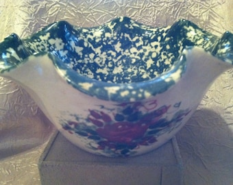 Green Spongeware Bowl with Hand Painted Rose