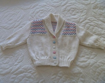 Baby Cardigan in White, Pink and Blue