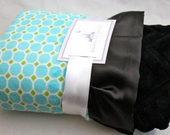 Aqua Turqoise and Lime Green Tile Print with Solid Chevron in Black on Reverse, Black Satin Trim, Minky Baby Blanket, Embroider, Personalize