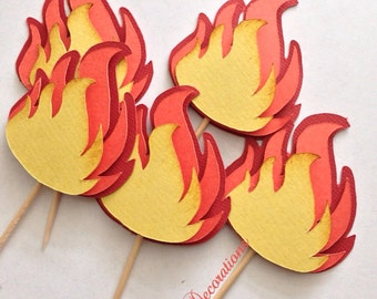 Fireman Firefighter Flame Cupcake Toppers Party
