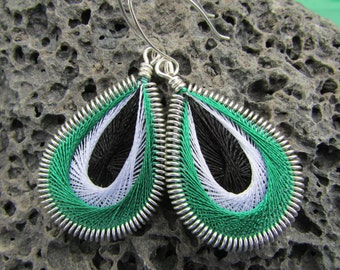 University of Hawaii Green, White & Black Woven Earrings