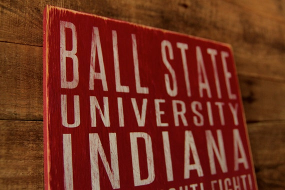 Ball State University Cardinals Distressed Wood Sign--Great Father's Day Gift!