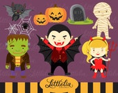 Trick or treat, Halloween clipart set/ Instant download - 13016