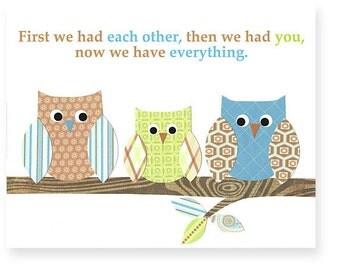 First we had each other, Owl Nursery Print, Baby Boy Nursery, Boy Nursery Decor, Baby Room Decor, Baby Wall Art, Boy Room Art, Toddler Boy