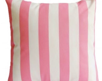 Pink White Stripe Pillow cover- 18x18, 16x16, 14x14 or 12x18