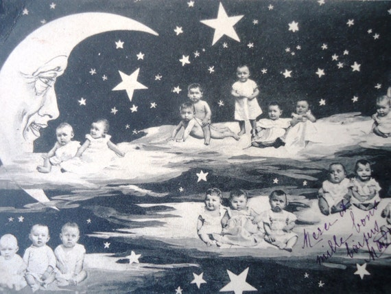 Antique french paper moon postcard - Babies, clouds, moon, stars, sky, black white tinted, 1900