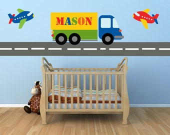 Truck Decal- Name Decal - Construction Wall Decal -Plane Decal- Transportation Decal - Boy Wall Decal - Nursery Wall Decal - Wall Decals