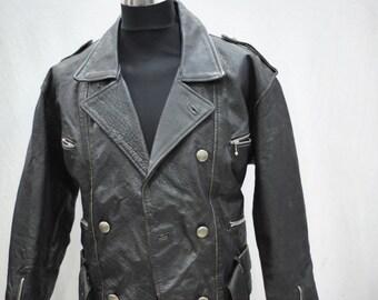Vintage LEATHER JACKET , biker jacket , men  jacket .....(073)