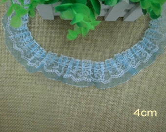 Wholesale Lot  15yard  Blue   white double layer ruffle lace trim DIY 4cm, 1.6inch  diy sewing