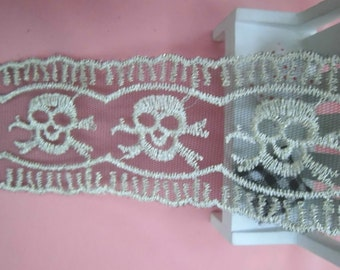 wholesale lot   3YARDS embroidered skull Lace Trim Crafts/ DIY 6.5cm