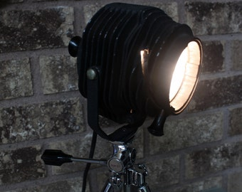 Stunning Mini Stage Light on Vintage Sunset Tripod - Home Theater Decor -- Tabletop Lamp - Spot Light