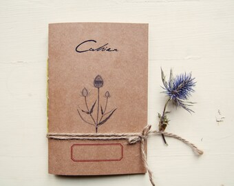 Mediterranean herbarium notebook, eco-friendly recycled paper journal, flowers plants notebook