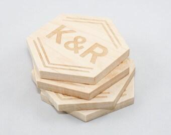 Custom Monogram Coasters - Laser Engraved Wood (Hexagonal)