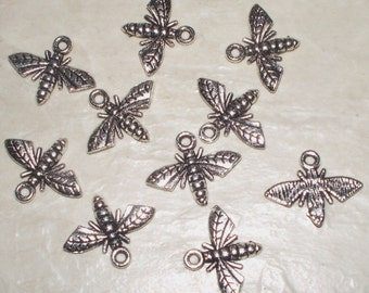 10 Antiqued Silver Bee Charms