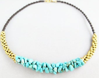 Turquoise Chip Stone Woven Necklace