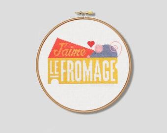 J'aime le Fromage Cross Stitch Pattern (Digital Format - PDF)