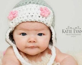Crochet Baby Girl Aviator Hat ,  Ear Flap Hat , Baby Hat Photo Prop , Baby Girl Hat , Crochet Flower Hat ,Photo Prop