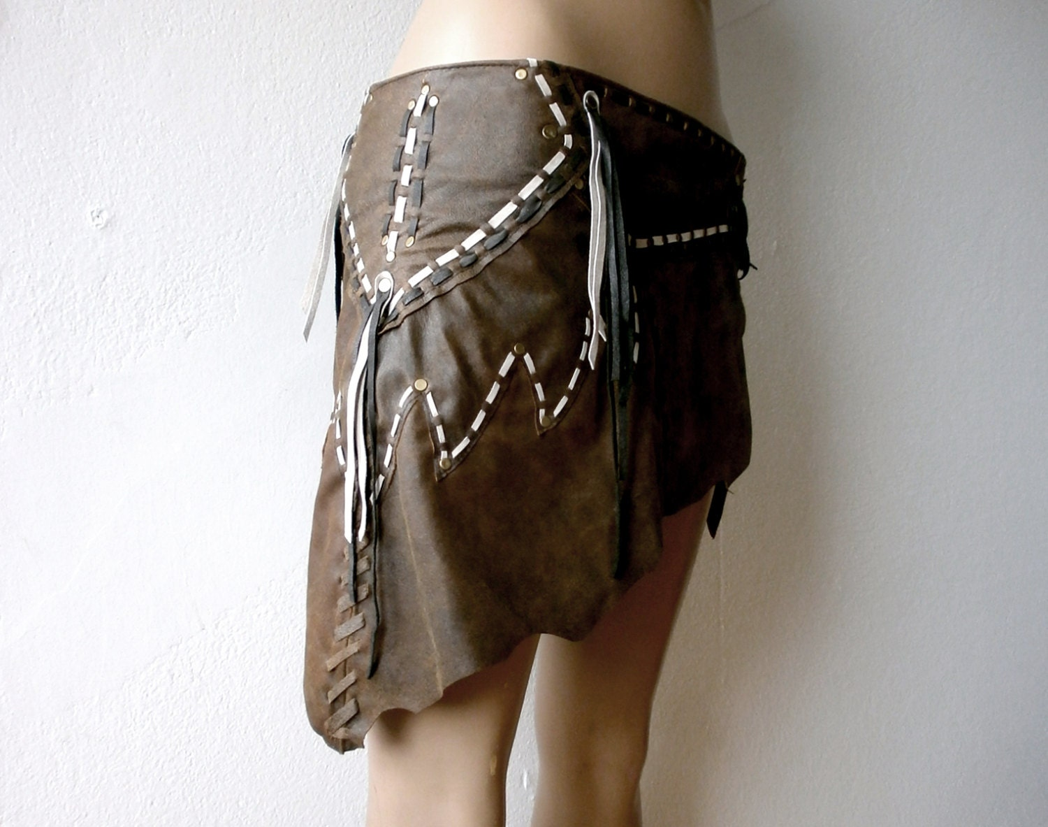 warriors worn out brown asymmetrical leather wrap skirt