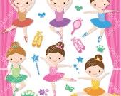 Ballerina Girls Digital Clip Art (Instant Download)