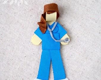 Scrub Nurse Ribbon Sculpture Hair Clip or Brooch Pin, completely customizable