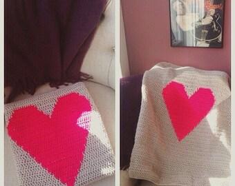 Crochet Pattern Heart Blanket PDF Instant Download